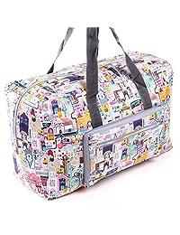 DITD轻便大容量尼龙防水包单肩大旅行包装衣服大包行李包折叠大包花包图案包可套拉杆箱使用091