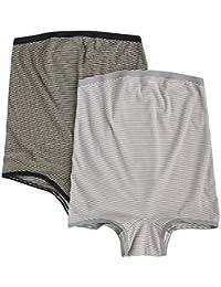 桝谷条纹一分孕妇内裤 M - L 灰色 & 黑色系系2件套1821set1918