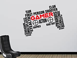 "Gamer 墙壁艺术贴花 视频游戏控制器设计 适用于游戏室 卧室 XLarge: 35""x22"" (90x57cm) ddwa117336"