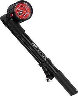 自行车减震泵,适用于山地、MTB、公路自行车和摩托车 - 高压 300 Psi 用于前叉和后部自行车悬架和空气减震 - 防漏阀 - T 型手柄设计 - 工业规格