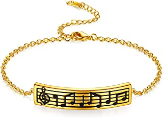 Beautlace 女式音符项链银色/18K 金黑色枪镀高音谱符珠宝送给音乐爱好者的礼物 手镯
