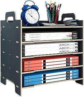 Echaprey 桌面文件收纳架带手柄木制 5 层可堆叠邮件文件纸信纸托盘储物架桌面文件分类架适用于办公室家庭(黑色)
