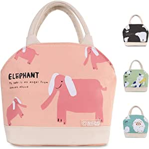 Buringer 动物系列隔热午餐袋冷藏手提袋帆布织物盒带后袋拉链封口适合儿童女人男生学校工作别针或旅行 粉色大象