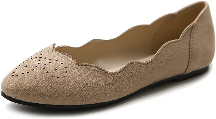 Ollio 女式鞋芭蕾波浪图案仿麂皮舒适平底鞋 沙色 5.5 M US