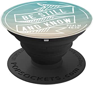 Christian Scripture Be Still and Know Psalm 46:12 Beach - PopSockets 手机和平板电脑抓握支架260027  黑色