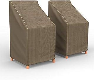 Budge P1A01BTNW3-2PK NeverWet Hillside 露台椅 Barstool 套(2 件装)高级户外防水,黑色和棕褐色织物