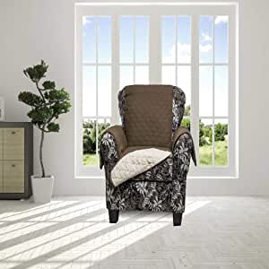 Duck River Textiles Reynold Reversible Waterproof Chair Cover with Pockets, Chocolate/Natural