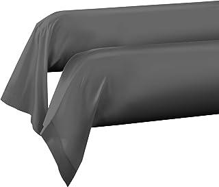 Home Passion 61350 2 件装 枕套 颈枕 棉质 深灰色 185 x 85 厘米