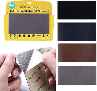 KASOWorkshop 沙发汽车座椅皮革修补补丁手袋夹克皮革和乙烯基胶粘素素色 20.32 x 10.16 厘米 灰色 KS-LP-GR