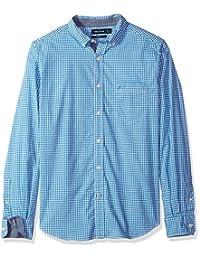 Nautica 男式经典修身弹力条纹长袖纽扣衬衫