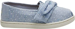 TOMS 儿童 10009918 Alpargata-K Light Bliss Blue Speckled Chambray Dots/Bow 8 M US Toddler