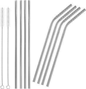 gthunder 不锈钢饮水吸管可重复使用吸管带清洁刷适用于20& 盎司纸杯 银色 4 Straight 4 Bend