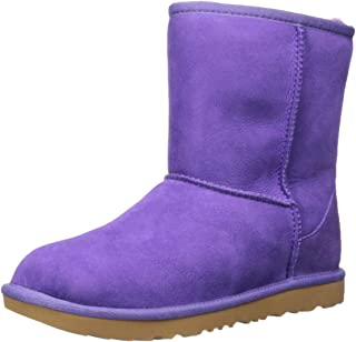 UGG 中性 K Classic II 时尚靴子,Violet Bloom, 4 M US Big Kid