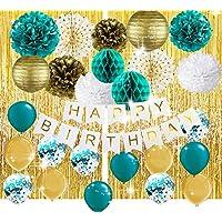 Teal Gold 婴儿淋浴装饰婚礼新娘洗礼派对蓝*金色五彩纸屑乳胶气球青色气球青色订婚/青色金色生日派对装饰
