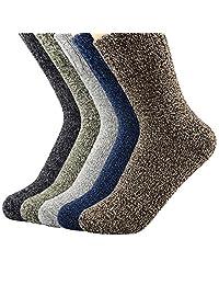 Century Star 女式复古冬季柔软羊毛保暖舒适圆领袜 5 双装