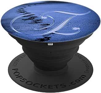 Z Blue Footprint 海滩沙海洋交织字母字母-PopSockets 手机和平板电脑抓握支架260027  黑色