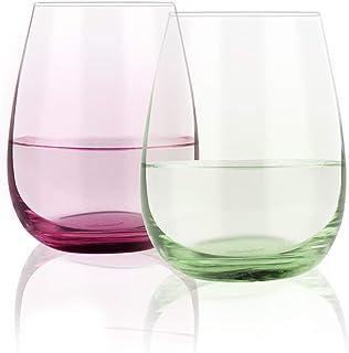 彩色酒杯套装,15 盎司(约 444.4 毫升)鲜艳防溅水无茎酒杯礼品送给朋友家人女性派对晚宴生日的理想之选,适合红白葡萄酒水果汁,2 件套(红,绿)