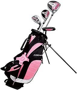 精确左手粉色青少年高尔夫球杆套装适合 3 至 5 岁儿童