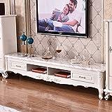 欧式大理石电视柜 客厅电视柜 储物电视柜地柜 (电视柜-大理石面, 2.2M*0.46M*0.45M)