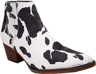 ARIDER ARiderGirl 女式 Dolly Cow 白色黑色西部及踝短靴低跟一脚蹬叠层麂皮靴