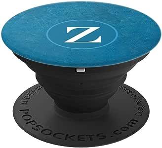 手机弹出式支架,酷蓝色和白色首字母 Z 交织字母 PopSockets 手柄和支架,适用于手机和平板电脑260027  黑色