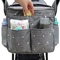 Parents 婴儿车收纳袋 - 适合所有婴儿推车型号。 旅行包带肩带,可携带奶瓶、尿布、玩具和零食。 隔热冷却系统,杯架和储物袋