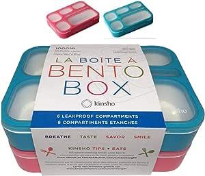 防漏便当午餐和零食盒 — 儿童及成人食品准备和膳食规划部分容器,不含双酚 A,微波炉和洗碗机*,配件 Blue Large & Bright Pink Large unknown