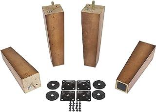ProFurnitParts Sandstone 9 英寸高锥形木沙发腿带防滑垫,含支脚架 4 件套