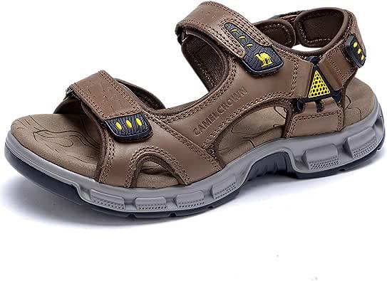 CAMEL 男式凉鞋真皮运动露趾凉鞋休闲弹性沙滩拖鞋夏季 红棕色 8 M US
