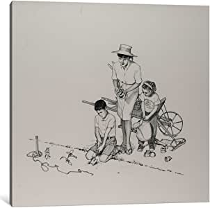 """iCanvasART 1 Piece Planting The Garden Canvas Print by Norman Rockwell, 37 x 37""""/0.75"""" Deep"""