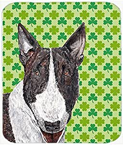 Caroline's Treasures SC9575LCB Bull Terrier St.Patrick's Irish Glass Cutting Board, Large, Multicolor