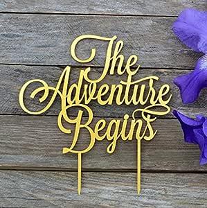 "HappyPlywood The adventure begin Cake Topper 婚礼蛋糕装饰等让冒险生日派对用品周年纪念蛋糕装饰 金色 width 7"""