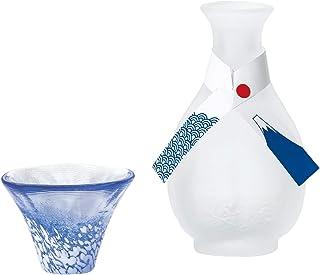 东洋佐佐木玻璃 冷*套装 白色&蓝色 杯35ml、*壶 175ml 招福杯 富士山 *器套装 日本制 G637-M75 2个装