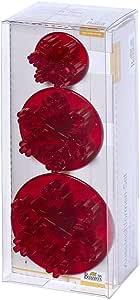 RBV Birkmann 软糖刀具套装 雪花 3 件 3-5,5 厘米,红色,17 x 7 x 4.8 厘米