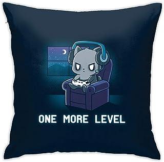 MOUISITON 猫枕套卡通可爱抱枕套家居装饰设计套装靠垫套沙发卧室汽车标准尺寸 45.72 x 45.72 cm 深蓝色 Cat-7 18 x 18 IN anlanmao-07
