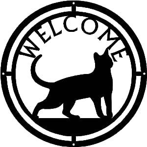 金属踏板者圆形欢迎标志 XXX 31.75 厘米 黑色 Cat #17 RW-Cat #17