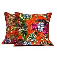 2 橙色印*安凯塔针手工花卉装饰抱枕套 靠垫套
