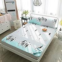 木茶 天丝空调软席 单人双人凉席三件套 冰丝可折叠夏季席子 企鹅 1.8m(6英尺)床