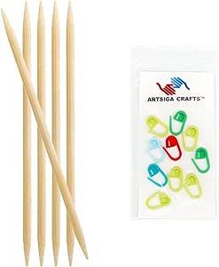 knitter's Pride 竹双尖33cm ( 20cm ) 织针 with 10artsiga CRAFTS stitch 马克笔