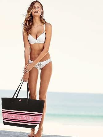 Victoria's Secret 条纹粉色黑色沙滩手提包