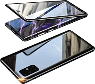 HONTECH Galaxy A71 5G 磁性外壳,超薄磁吸附前后钢化玻璃内置屏幕保护膜金属保险杠翻盖外壳 6.7 英寸 黑色