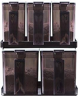 YAMAZAKI 山崎实业 调料瓶&支架 套装 储藏盒 容器 收纳盒 勺 厨房用品 黑色 6点セット 3342 2868 3SET