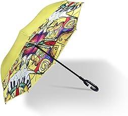 SYF 双层反向伞带 C 形手柄,女孩可爱雨伞