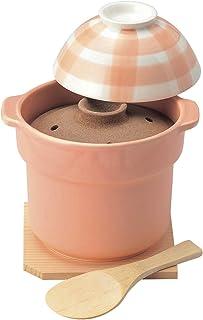 佐治陶器 米饭锅 粉色 13.5cm 万古烧 TOKANN 饭锅 1合炊 格子图案 12-167