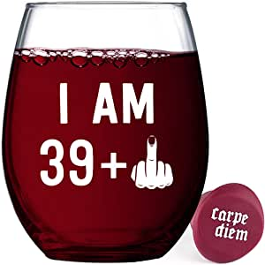 40 岁生日趣味无钢圈酒杯 中指 (39+1) 赠送瓶塞 39+1