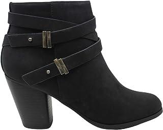 MVE Shoes 女式高粗跟扣带靴
