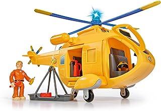 Simba Wallaby II 109251002 消防员山姆和直升机,带Tom Thomas人偶,带有灯光和声效,螺旋桨可旋转,6个座位,34cm,适用于3岁以上儿童