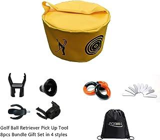 POSMA HB010C 高尔夫挥杆训练套装带 1 个击球袋 3 重力量环 10 根铅胶带 4 种高尔夫球抓手 2 个每个手提袋