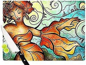 """Kess InHouse Mandie Manzano""""Cubana""""砧板,29.21 x 39.88 厘米,橙色,跳舞"""