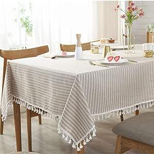 Bringsine 复古桌布,亚麻长方形可水洗晚餐野餐桌布,各种尺寸 Love Beige Rectangle/Oblong, 55 x 79Inch Bring-180522PM